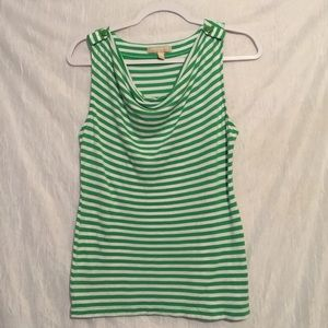 Banana Republic green white striped tank large